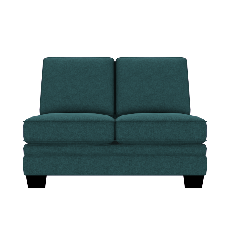 Designed2B Flora Velvet Armless Loveseat - Kira Sea - Armless Loveseat