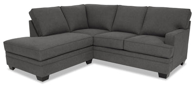Designed2B Flora 2-Piece Chenille Left-Facing Sectional - Milo Charcoal|Sofa sectionnel de gauche Flora Design à mon image 2 pièces en chenille - Milo anthracite|FL2883SL