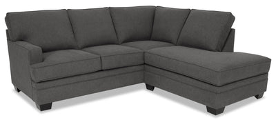 Designed2B Flora 2-Piece Chenille Right-Facing Sectional - Milo Charcoal