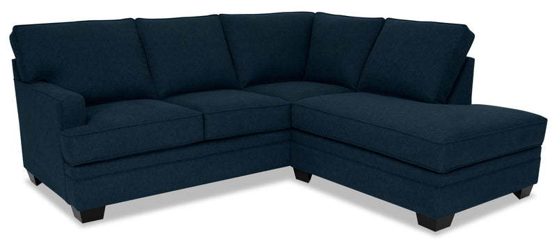 Designed2B Flora 2-Piece Velvet Right-Facing Sectional - Kira Royal
