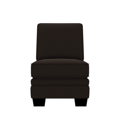 Designed2B Flora Textured Polyester Armless Chair - Plush Chocolate|Fauteuil sans accoudoirs Flora Design à mon image en polyester texturé  - Plush chocolat|FL452479