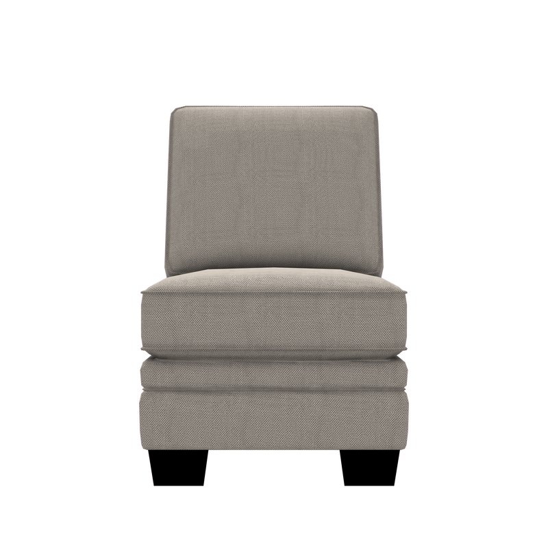 Designed2B Flora Textured Polyester Armless Chair - Plush Ecru - Armless Chair