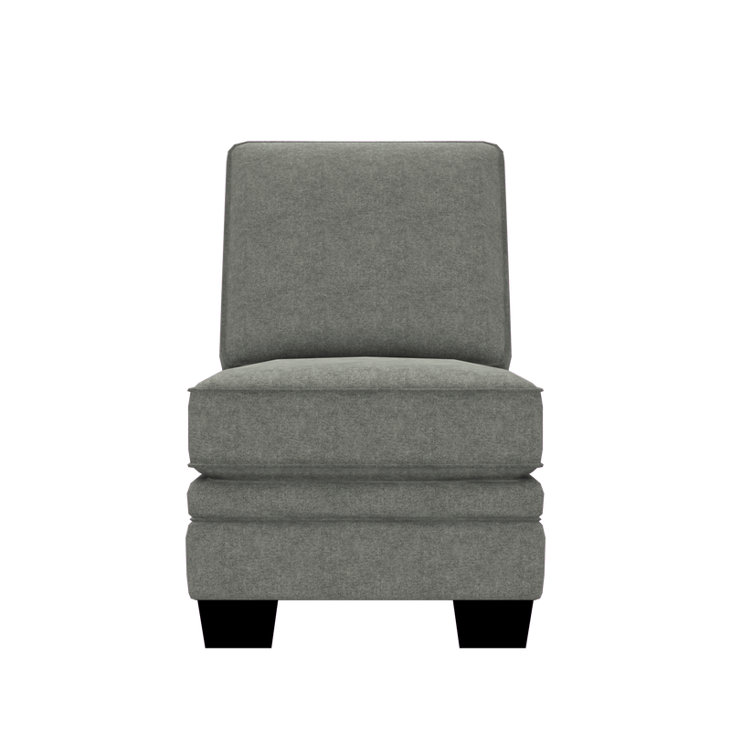 Designed2B Flora Velvet Armless Chair - Kira Platinum - Armless Chair