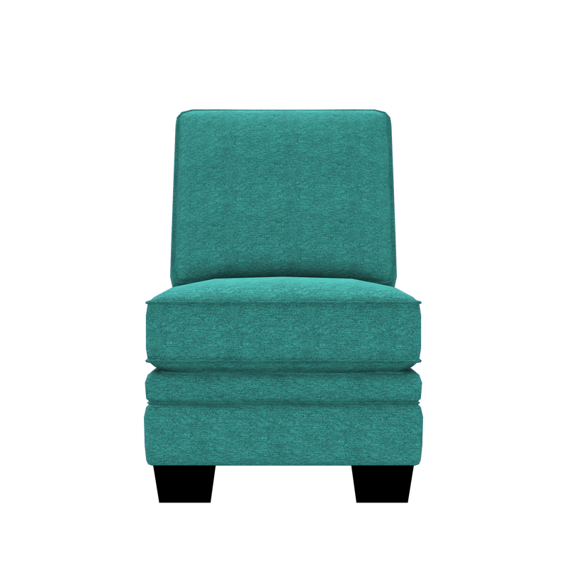 Designed2B Flora Chenille Armless Chair - Milo Teal - Armless Chair