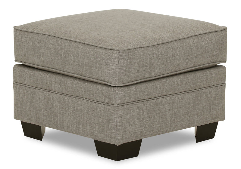 Designed2B Flora Linen-Look Fabric Ottoman - Cabo Smoke - {Modern} style Ottoman in Cabo Smoke {Solid Hardwoods}