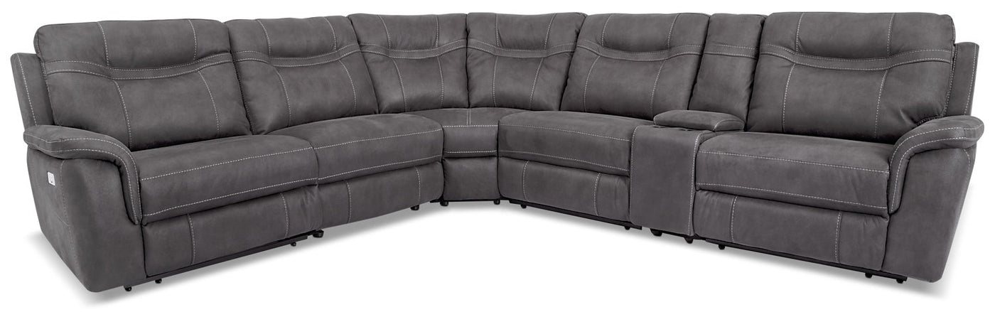 Floy 6-Piece Faux Suede Power Reclining Sectional – Grey