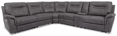 Floy 6-Piece Faux Suede Power Reclining Sectional – Grey - Contemporary style Sectional in Grey