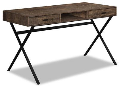 Flynn Reclaimed Wood-Look Desk - Brown