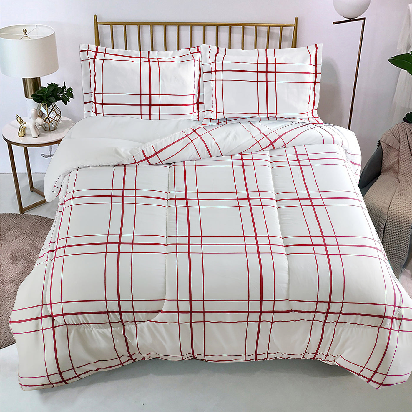 Flynn 2 Piece Twin Comforter Set Red And White The Brick