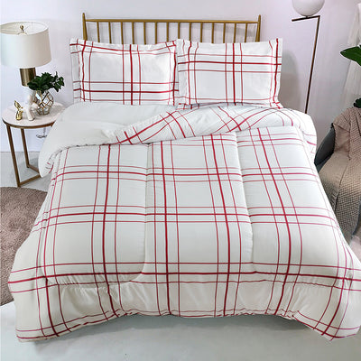 Flynn 3-Piece Full/Queen Comforter Set - Red and White|Ensemble d'édredon Flynn 3 pièces pour lit double ou grand lit - rouge et blanc|FLYNN3FQ
