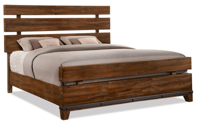 Forge Queen Bed - {Rustic} style Bed in Rustic Brown