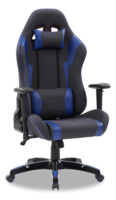 Gamer Chair - Grey and Navy|Fauteuil de jeu - gris et bleu marine|GAMGNCHR