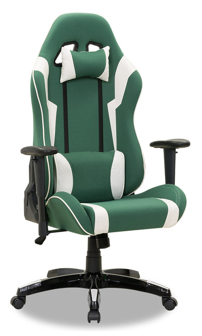Gamer Chair - Green and White|Fauteuil de jeu - vert et blanc|GAMGWCHR