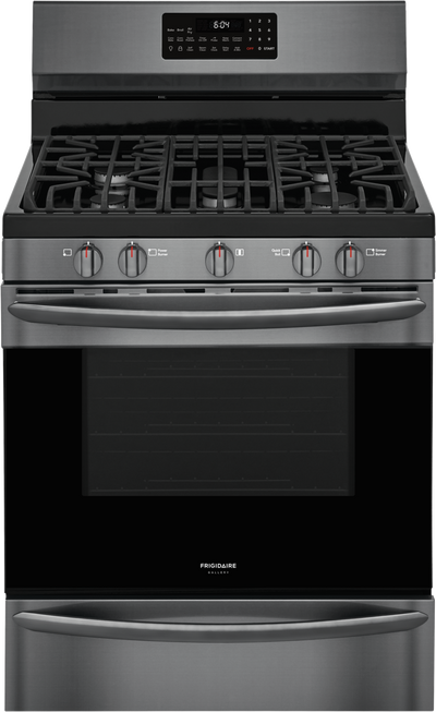 Frigidaire Gallery 5 Cu. Ft. Freestanding Gas Range with Air Fry - GCRG3060AD - Gas Range in Smudge-proof Black Stainless Steel