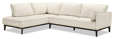 Gena 2-Piece Linen-Look Fabric Left-Facing Sectional – Cotton - Modern style Sectional in Cream