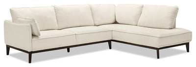 Gena 2-Piece Linen-Look Fabric Right-Facing Sectional – Cotton - Modern style Sectional in Cream