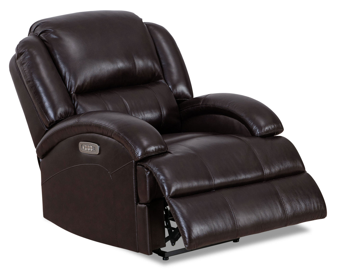 Giovanni Genuine Leather Power Recliner With Power Lumbar Dark