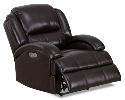 Giovanni Genuine Leather Power Recliner with Power Lumbar - Dark Brown