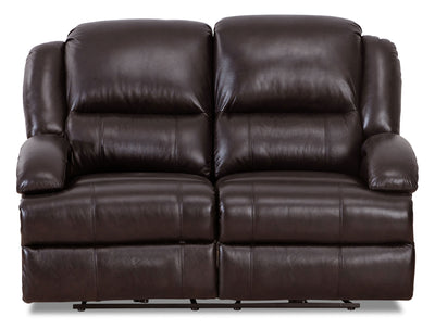 Giovanni Genuine Leather Power Reclining Loveseat with Power Lumbar - Dark Brown