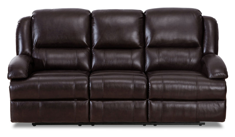Giovanni Genuine Leather Power Reclining Sofa with Power Lumbar - Dark Brown