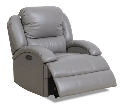 Giovanni Genuine Leather Power Recliner with Power Lumbar - Grey - {Contemporary} style Chair in Grey {Solid Hardwoods}