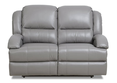 Giovanni Genuine Leather Power Reclining Loveseat with Power Lumbar - Grey