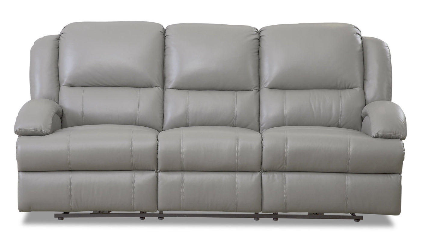 Picture of: Giovanni Genuine Leather Power Reclining Sofa With Power Lumbar Grey The Brick