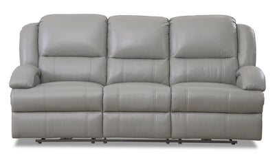 Giovanni Genuine Leather Power Reclining Sofa with Power Lumbar - Grey - {Contemporary} style Sofa in Grey {Solid Hardwoods}