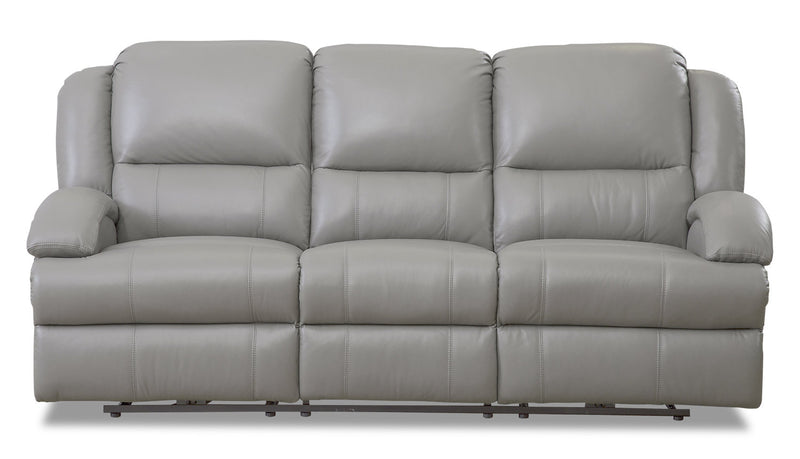 Giovanni Genuine Leather Power Reclining Sofa With Power Lumbar Grey The Brick