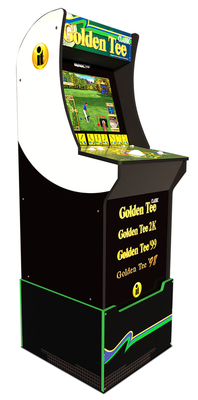 Arcade1Up Golden Tee™ Arcade Cabinet with Riser|Borne de jeu Arcade1Up Golden TeeMD avec plateforme.