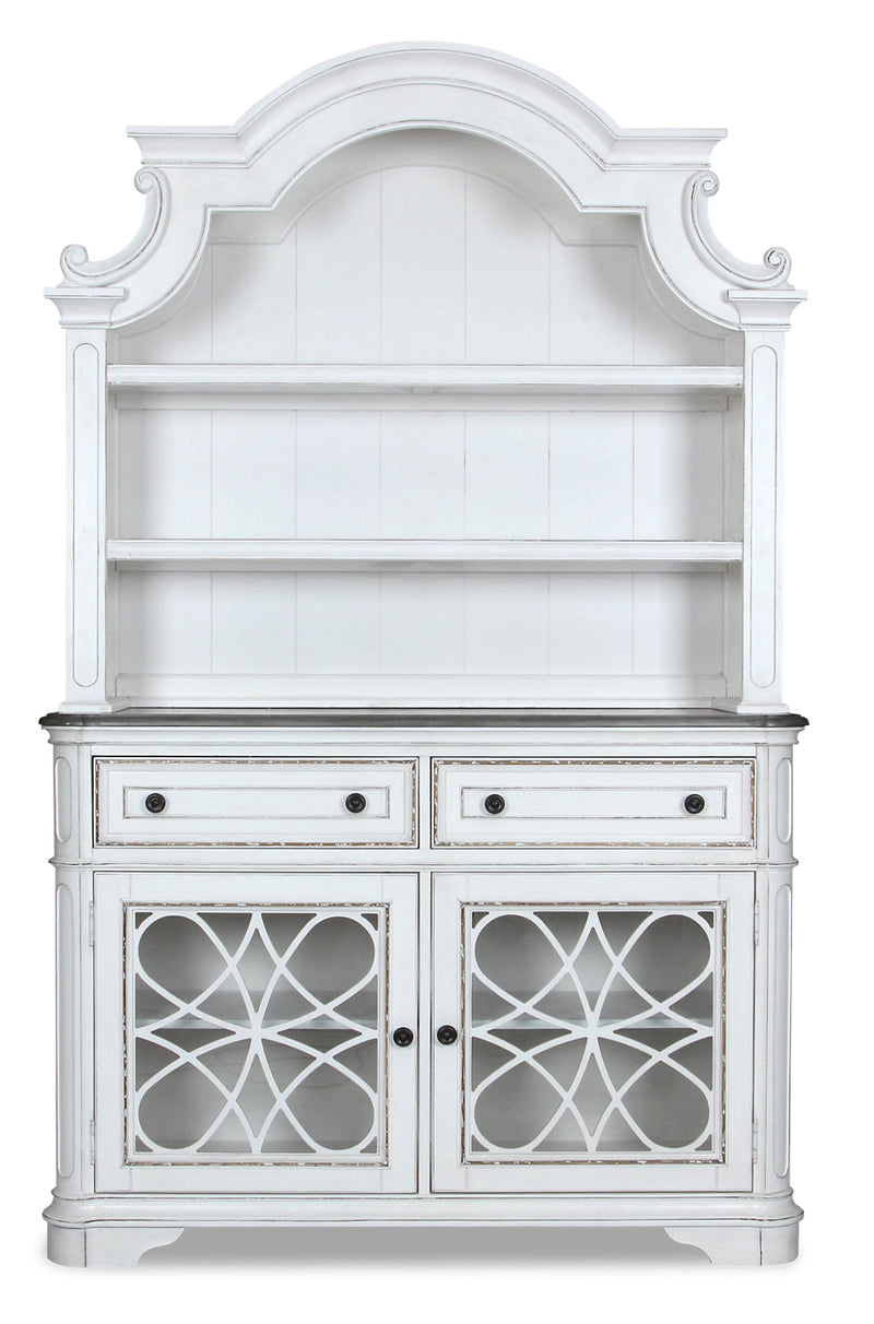 Grace China Cabinet - {Country} style Buffet and Hutch in Antique White {Poplar}, {Oak}
