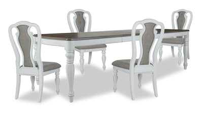 Grace 5-Piece Dining Package - {Country} style Dining Room Set in Antique White {Poplar}, {Oak}