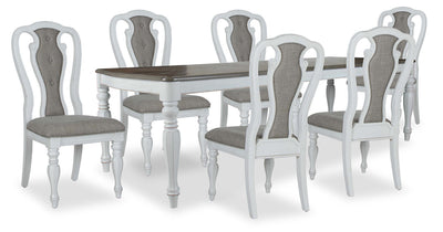 Grace 7-Piece Dining Package - {Country} style Dining Room Set in Antique White {Poplar}, {Oak}
