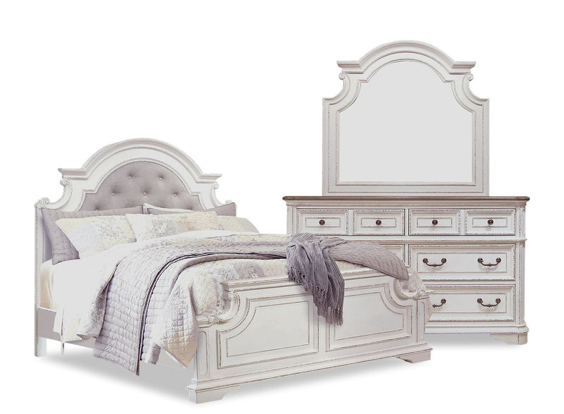 Grace 5-Piece King Bedroom Package – Antique White - {Country} style Bedroom Package in Antique White {Poplar}