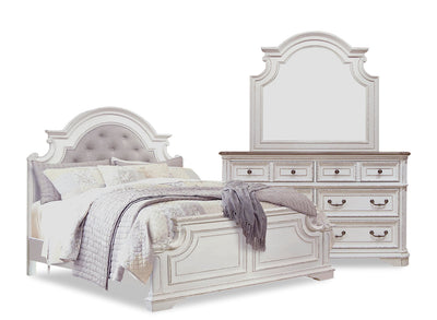 Grace 5-Piece Queen Bedroom Package – Antique White|Ensemble de chambre à coucher Grace 5 pièces avec grand lit - blanc antique|GRACWQP5