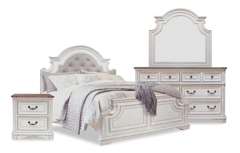 Grace 6-Piece Queen Bedroom Package –Antique White - {Country} style Bedroom Package in Antique White {Poplar}