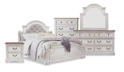 Grace 7-Piece Queen Bedroom Package – Antique White|Ensemble de chambre à coucher Grace 7 pièces avec grand lit - blanc antique|GRACWQP7