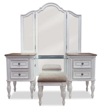 Grace 3-Piece Vanity Set with Lift-Top Stool – Antique White