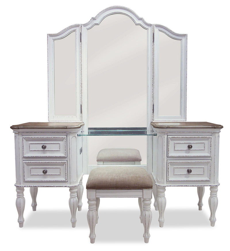 Grace 3-Piece Vanity Set with Lift-Top Stool – Antique White - {Country} style Accent Cabinet in Antique White {Poplar}