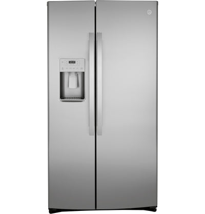 GE 21.8 Cu. Ft. Counter-Depth Side-by-Side Refrigerator - GZS22IYNFS - Refrigerator in Fingerprint Resistant Stainless Steel