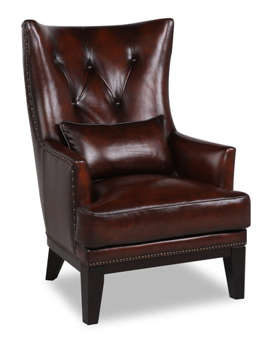 Haden Genuine Leather Accent Chair - Brown - {Traditional} style Accent Chair in Brown {Plywood}, {Solid Woods}