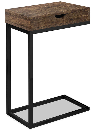 Harper Reclaimed Wood-Look Chairside Table with Drawer - Brown