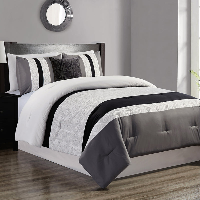Hartford Grey 4-Piece Queen Comforter Set|Ensemble d'édredon Hartford 4 pièces gris pour grand lit|HARFD4QU
