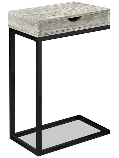 Harper Reclaimed Wood-Look Chairside Table with Drawer - Grey