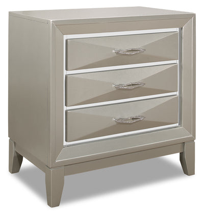 Harlow Nightstand - {Glam} style Nightstand in Silver Champagne {Rubberwood}