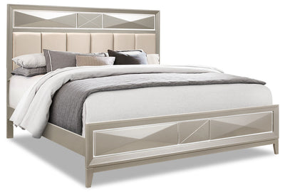 Harlow Queen Bed - {Glam} style Bed in Silver Champagne {Rubberwood}