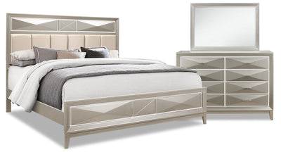 Harlow Queen 5-Piece Package - {Glam} style Bedroom Package in Silver Champagne {Rubberwood}