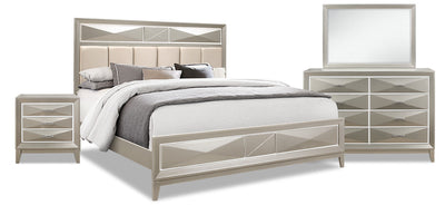 Harlow Queen 6-Piece Package - {Glam} style Bedroom Package in Silver Champagne {Rubberwood}