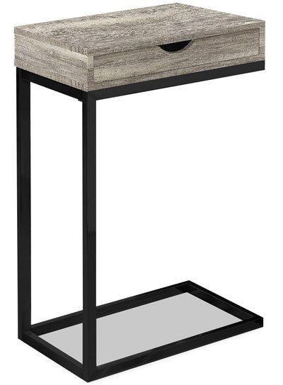 Harper Reclaimed Wood-Look Chairside Table with Drawer - Taupe