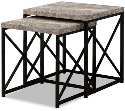 Harper Reclaimed Wood-Look Nesting Tables - Taupe
